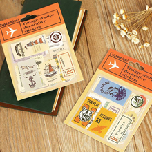 1Pcs Retro Art Travel Stamps Sticker Paper Stationery Decorative Diary Seal Stickers Gift H0492