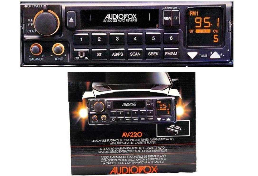BRAND NEW AUDIOVOX AV-220 Car Audio In-Dash AUTO-REVERSE Cassette Player with AM/FM Radio digital tuner & AUX INPUT & REMOVABLE FLAT-FACE