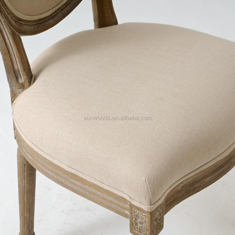 Franse landelijke ovale linnen dineren fauteuil  franse louis houten eetkamerstoel, franse louis