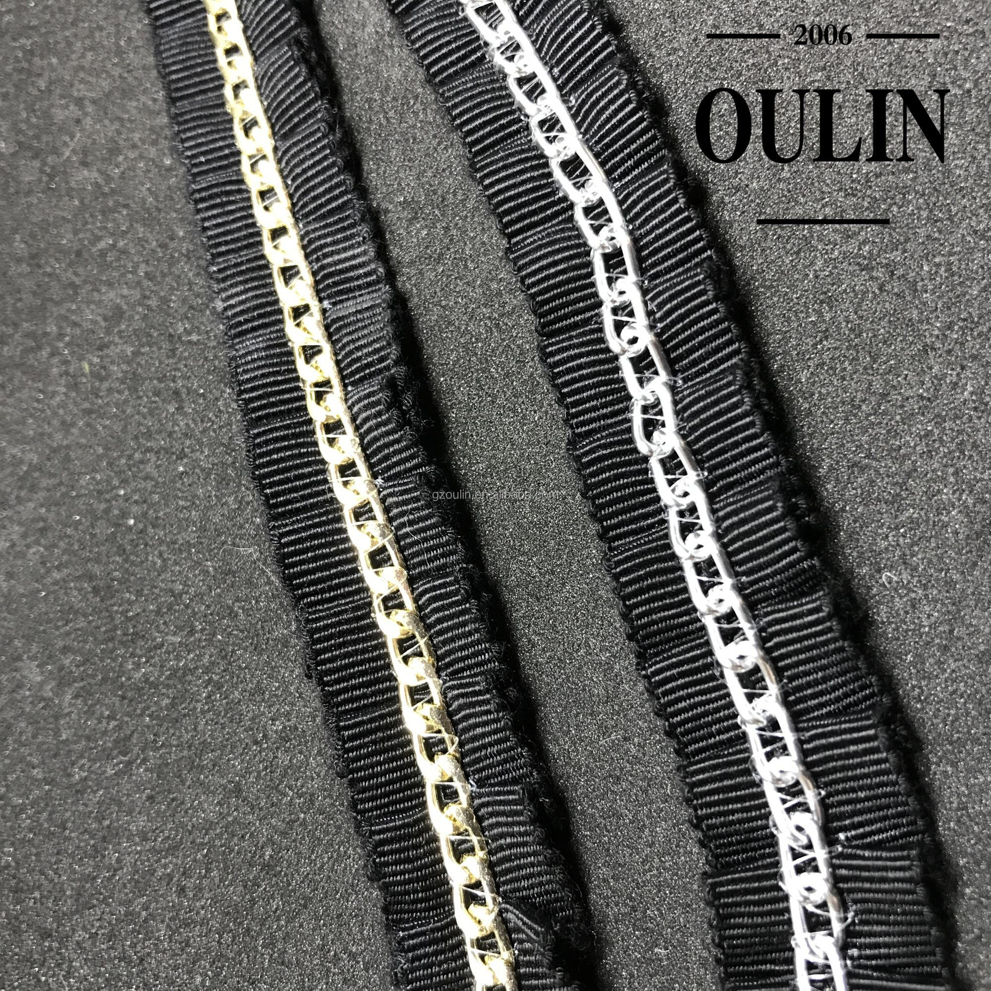 Fold lace trim with Chain trims new designs metal chain trims used on garm