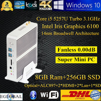 Nettop Intel Core I5 5200U 5250U 5257U Fanless MINI PC Windows10 Pc Desktop Computer 8GB RAM 256GB SSD With Dual Lan Mini Server