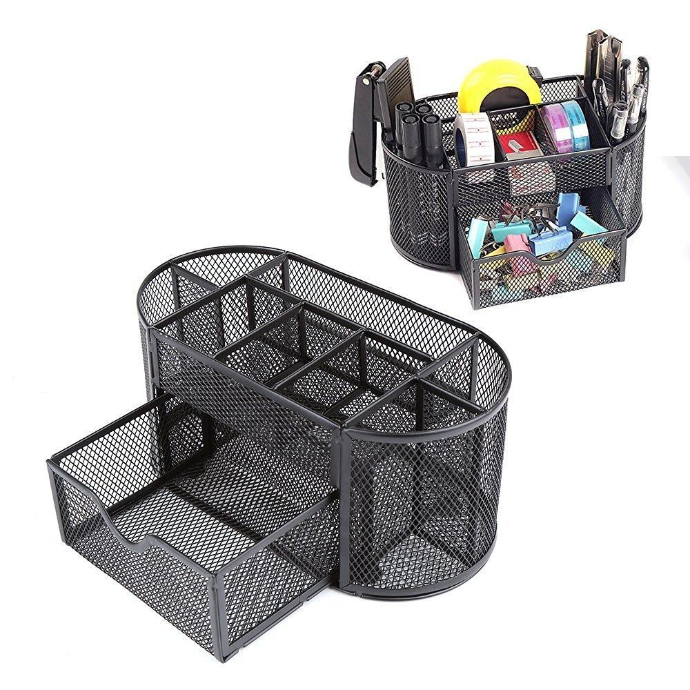 Tmarton Features Elegant Metal Wire Mesh Office School Supply Desktop Organizer Caddy,8Compartment With 1Drawer, Black