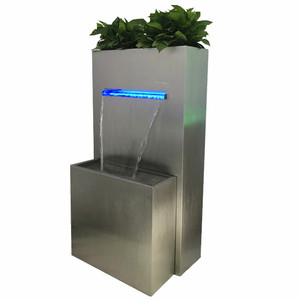 Outdoor waterfall fountain with planter ,stainless steel flowerpot water feature