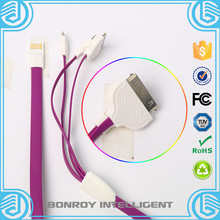 mobile accessories free sample universal usb data cable sync charger colorful fast charging micro mini usb data 3 in 1 cable