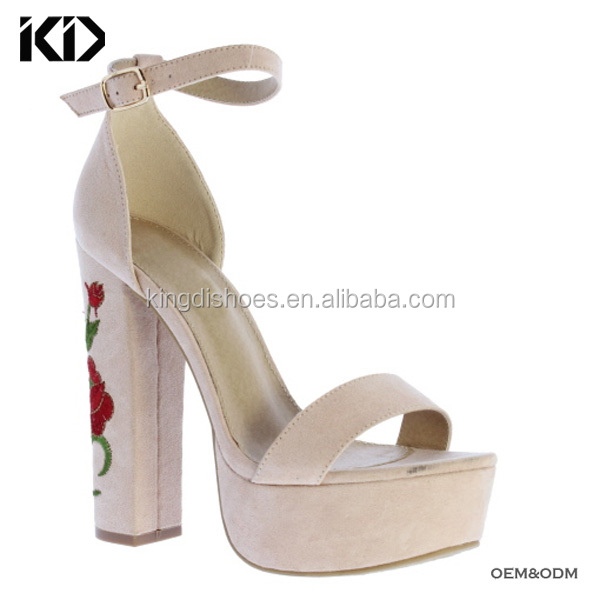 Ladies platform high heel sandals girls killer heel sandals for evening party embroidery heel factory shoes