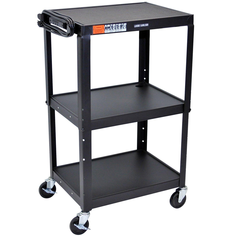 "Luxor / H. Wilson AVJ42 Black 3 Shelf A/V Utility Cart 24"" x 18"" - Adjustable Height"