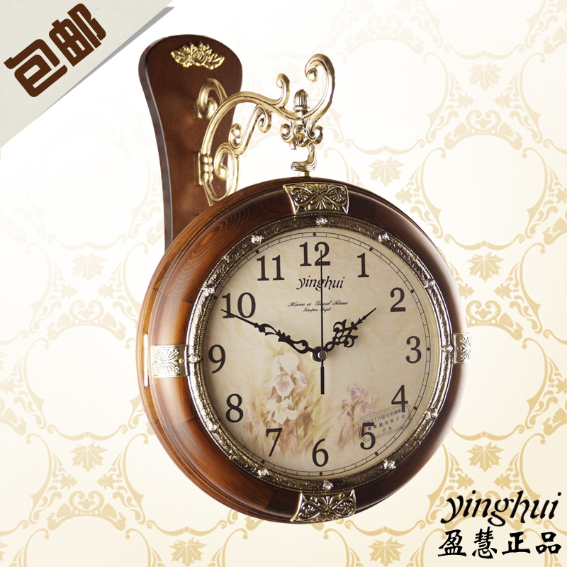 free shipping Wall clock fashion double faced clocks rustic solid wood fashion mute clock and watch  home decoration