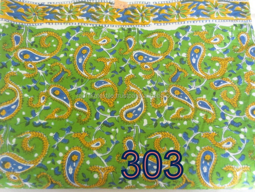 RTC-28 Green Color Flower Printed Hand Block Printed Fabric 100% Cotton Natural Fabric Manufacturer Jaipur