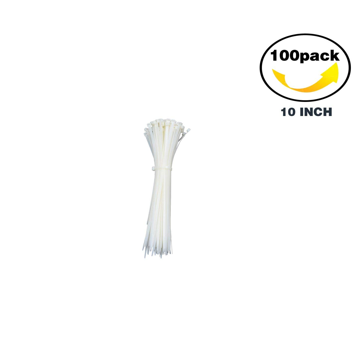 KUIYN Industrial Zip Ties,Self Locking Nylon Cable Ties,Heavy Duty Zip Cable Ties, Multi-Purpose Strong Wire Ties, Cable Clips Organizer, Cable Management, 10Inch(100PCS),White