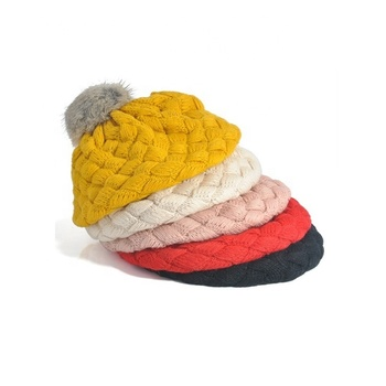 Fashion new cute winter warm plain kids beret cap baby crochet knitted beanie hat with tail