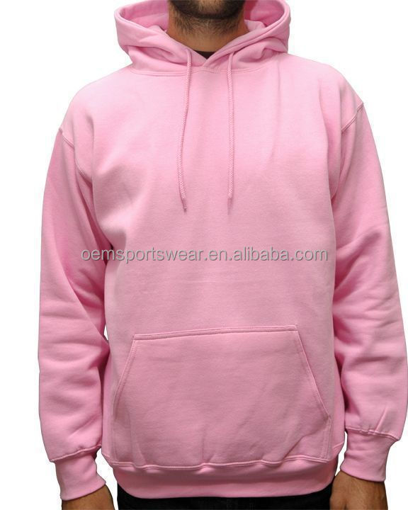 Plain Mens Microfiber Pullover Blank Fleece Hoodies Pink - Buy ...