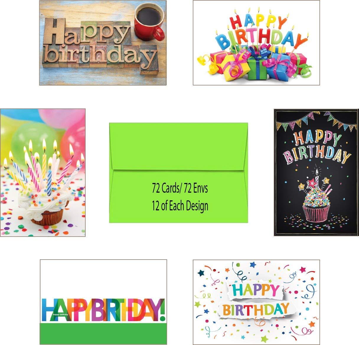 6 Designs Yellow Envs Colorful Birthday 72 Birthday Cards