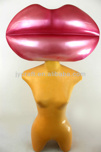 high quality 3D giant fiberglass sexy pink lips sculpture for fashion decoration
