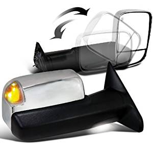 ECCPP Chrome Tow Towing Power Heated Side View Door Mirrors +Puddle Signal Light Left & Right Pair Set for Dodge Ram 1500 2500 3500 Pickup 2010 2011 2012