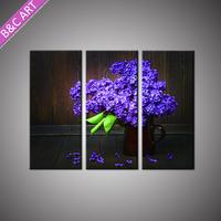 3d Wall Art Decor 3pcs Set Customized Lavender Flowers Oil Painting for Living Room