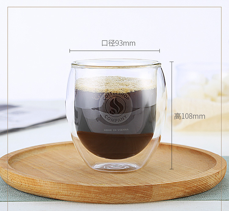Mouth-blown  Heat Resistant Borosilicate Double Wall  Glass Coffee & Juice & Cold Water Cup