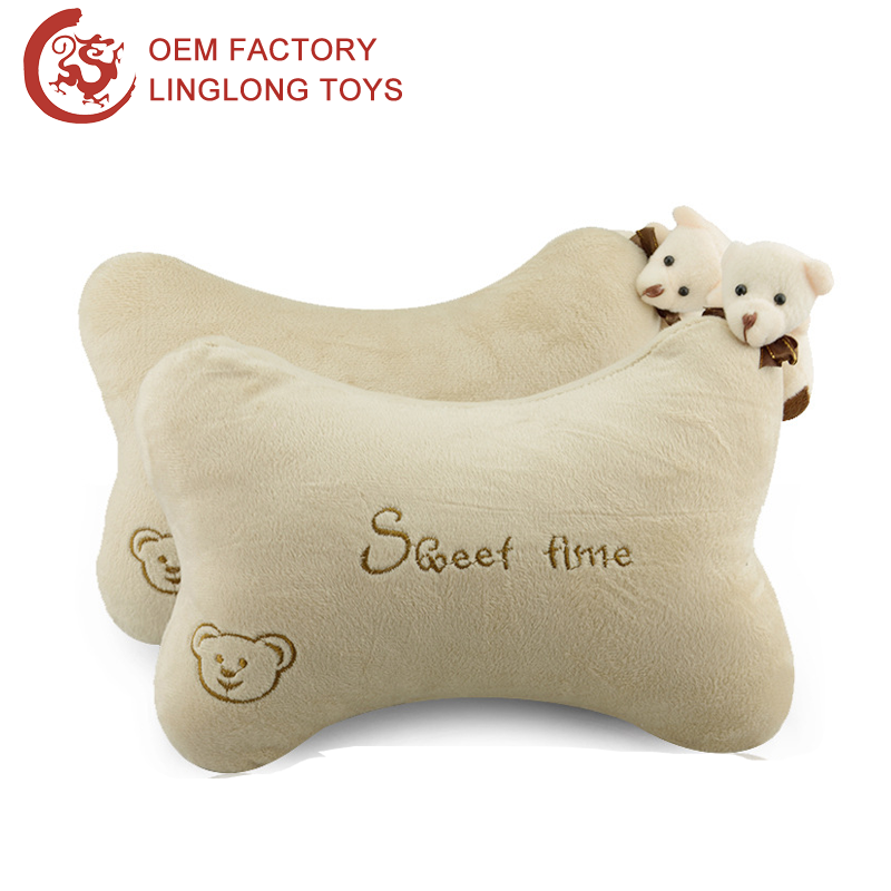 Cartoon Car Neck Rest Pillow Embroidery Pattern Headrest Cushion With Bear Toy Plush Bone Shape Neck Pillow For Auto Car