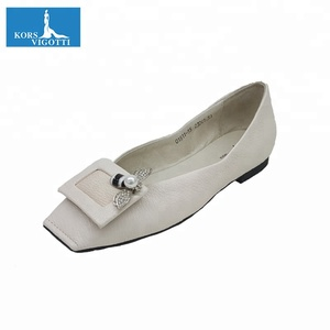 New arrival white or black color genuine leather ballet ladies shoes flat