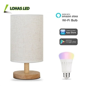 2018 Novel Design Multicolor Smart LED Light Bulb A19 60W Equivalent WiFi Fabric Table Lamp