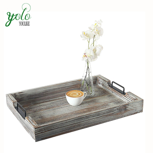 Distressed Torched Wood Serving Tray With Black Metal Handles
