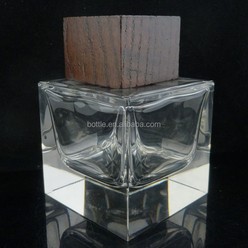 empty square men cologne perfume bottle 100ml glass bottle with wooden lid