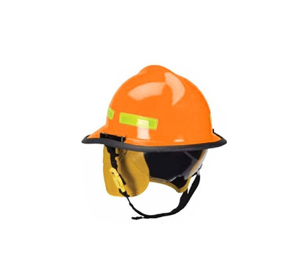 MSA Safety 660DSO Cairns Metro Fire Helmet with Defender, Standard Flannel Liner, Nomex Earlap, Chinstrap with Quick Release, Postman Slide, Bar and Lime/Yellow Reflexite, Orange