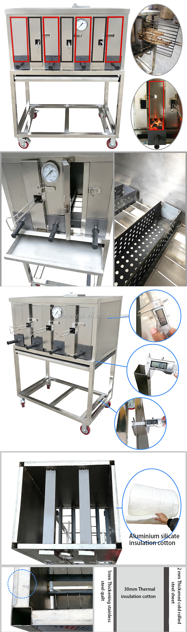 Stainless Steel Commercial Smokeless Charcoal 3 Fish 4 Boxes Fish Grill Furnace Machine