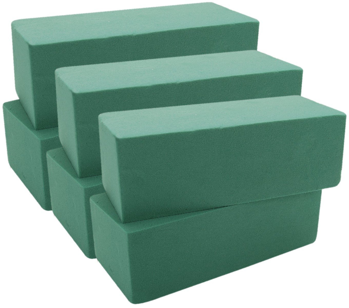 "Floral Foam Bricks Green Styrofoam Wet Foam Blocks 3"" X 4"" X 9"" 6/Pkg Green With Two Premium Quality 1/2 Inch Floral Tape"