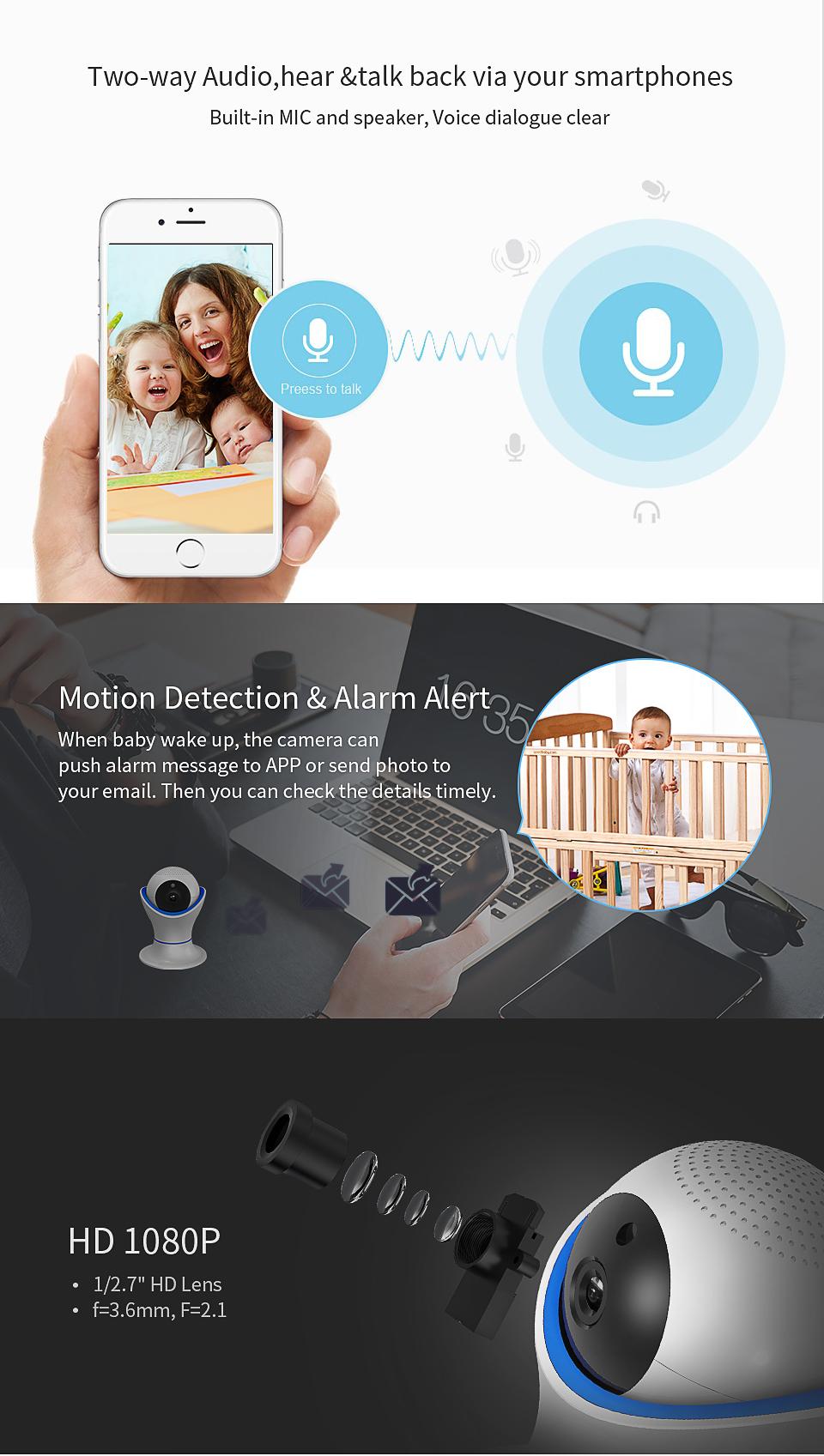 HD 1080P Màn hình Baby Không dây Màn hình Hai chiều Talk / Night Vision IP Smart Wifi Baby Camera