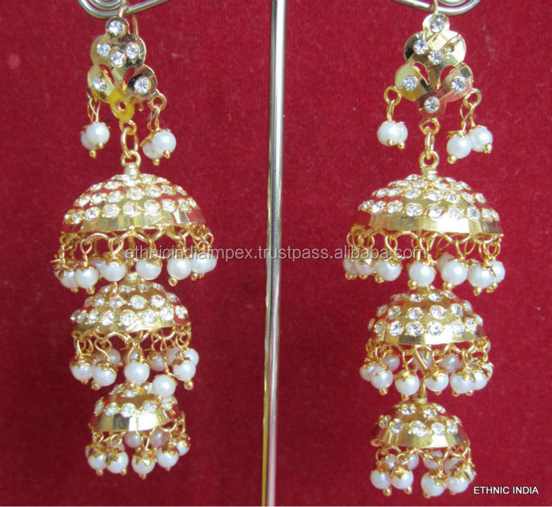 Jhumka Gold plated Jadau pearl kundan dangler EARRINGS