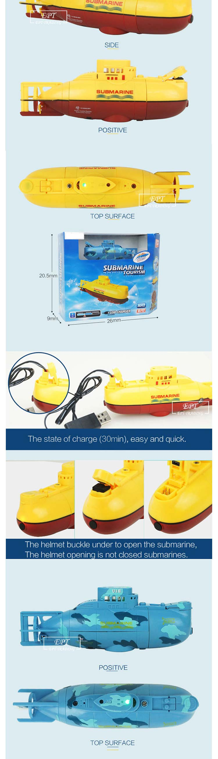 Brand new kids funny mini rc submarine toy 3ch rc submarine for sale