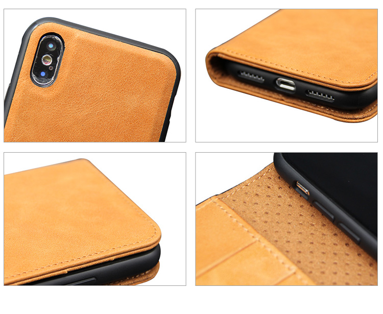 For iphone X Case, High Quality Detachable Real Leather Phone Case Cover for iphone XR XS MAX 6 7 8 9 XS Plus