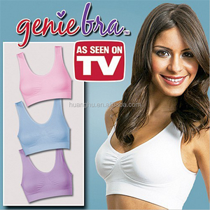 Genie bra with removable pad 2 layer no hooks no wires (white/black/nude) mix size