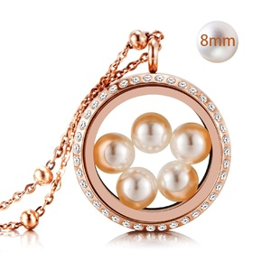 316L stainless steel memory floating glass thickened crystal rose gold locket with 8mm pearls