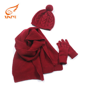 Character Soild Knitted Scarf Hat Set Fashionable Scarf Set Scarf Hat and Gloves Sets