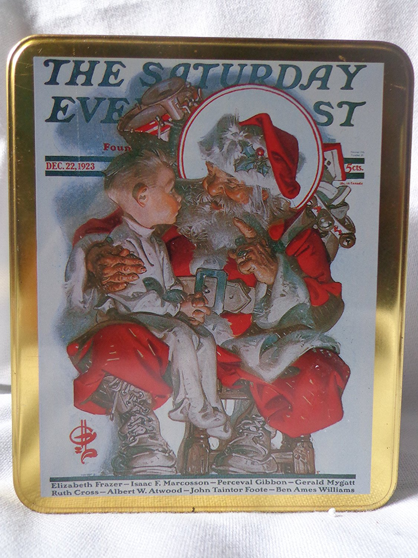Norman Rockwell Christmas Tin, Hinged Norman Rockwell Tin, Christmas Tin, Norman Rockwell Hinged Christmas Tin