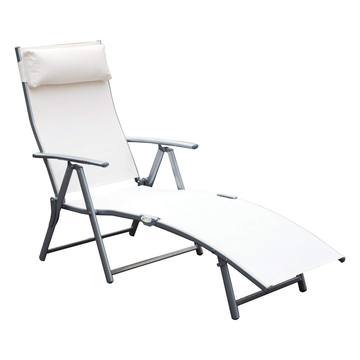 Get Quotations Outsunny Sling Fabric Folding Patio Reclining Outdoor Deck Chaise Lounge Chair With Cushion Cream White