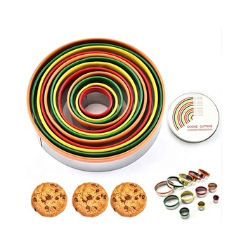 12 Piece Colorful Round Cookie Cutter Set For Dough Pastry Biscuits SW-BS154C