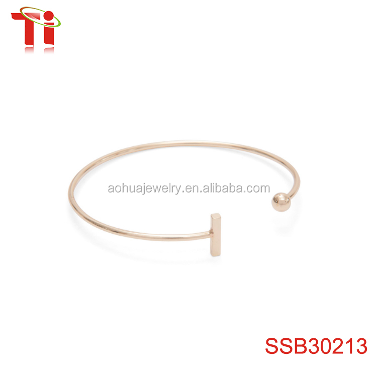 2017 popular flask bangle new gold bracelet designs of 1cm bar length, 0.2cm bar width, 0.3cm ball diameter