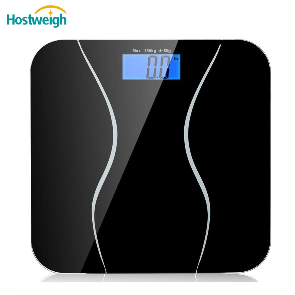 Hostweigh Electrical Body Weight Personal Scale with Backlight LCD Display Tempeared Glass Platform