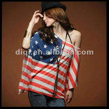 OEM,2013 casual cotton stripe flag printing off shoulder t-shirts , women clothing ,appreal ,clothes