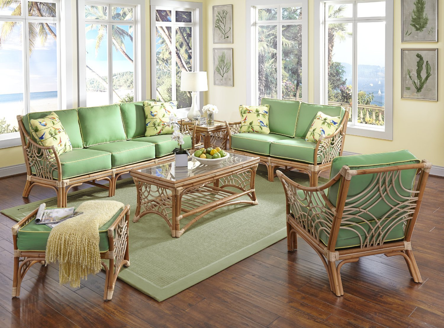 Get quotations · bali rattan wicker 6 piece living room set includes sofa loveseat lounge chair