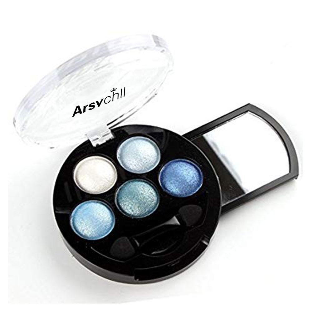 5 สี Make up Shimmer Highlight Palette และแปรงเครื่องสำอางสีฟ้า