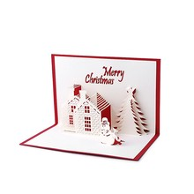 China supplier customized 3d pop up merry christmas greeting card