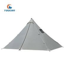 Outdoor 20D Ripstop Nylon Single Layer 4 Personen Kachel Schoorsteen Piramide Ultralight Camping Tent