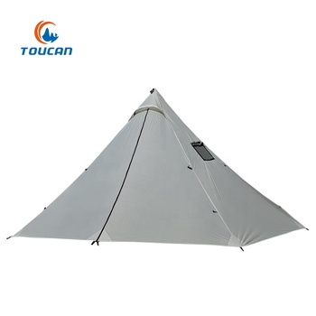 Outdoor 20D Ripstop Nylon Single Layer 4 Persons Stove Chimney Pyramid Ultralight Camping Tent