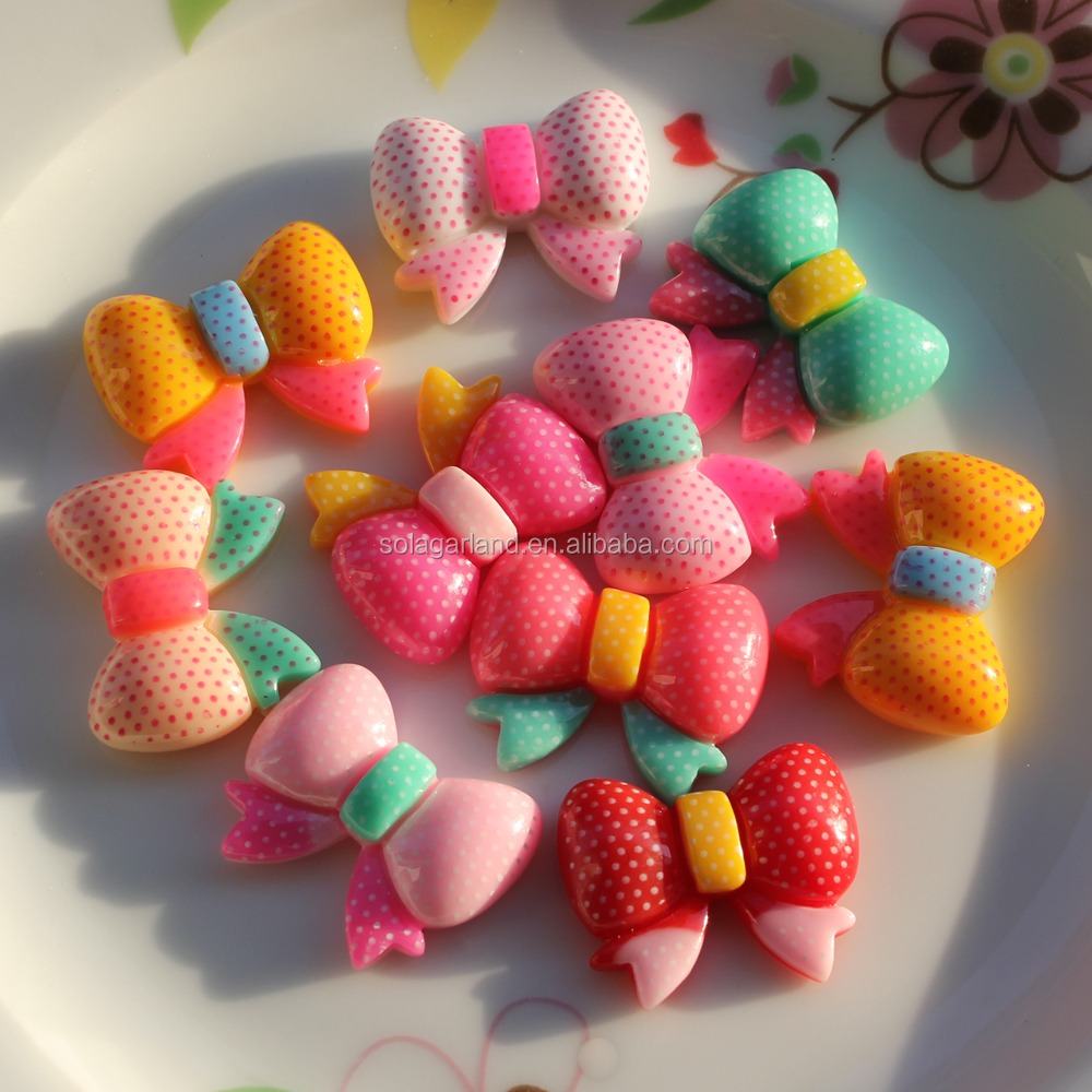 Top Saleing Charms 22*28mm Acrylic Kids Hair Bow Shaped Plastic Beads Cabochons for Girl Hairbow Accessories