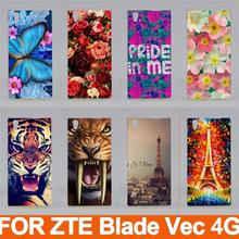 New arrival 14 patterns fashion 3d painted colored hard plastic transparent side case cover skin sheer for ZTE Blade Vec 4G