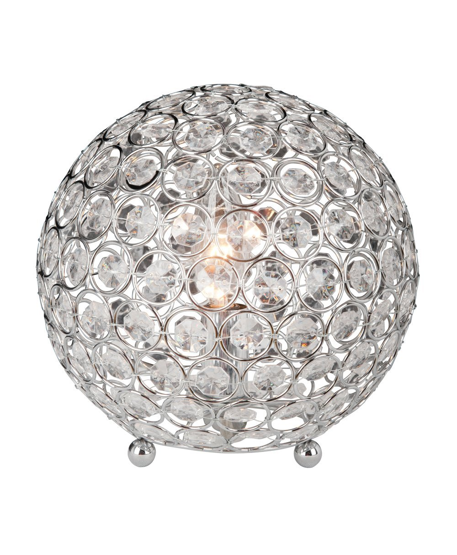 "Elegant Designs LT1026-CHR Crystal Ball Table Lamp, 7.75"" x 7.75"" x 8"""