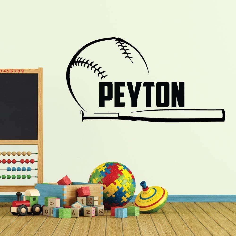 Custom Boys Name Baseball Wall Decal. -0279- Personalized Boys Baseball Wall Decal - Baseball Theme Wall Decal - Bat